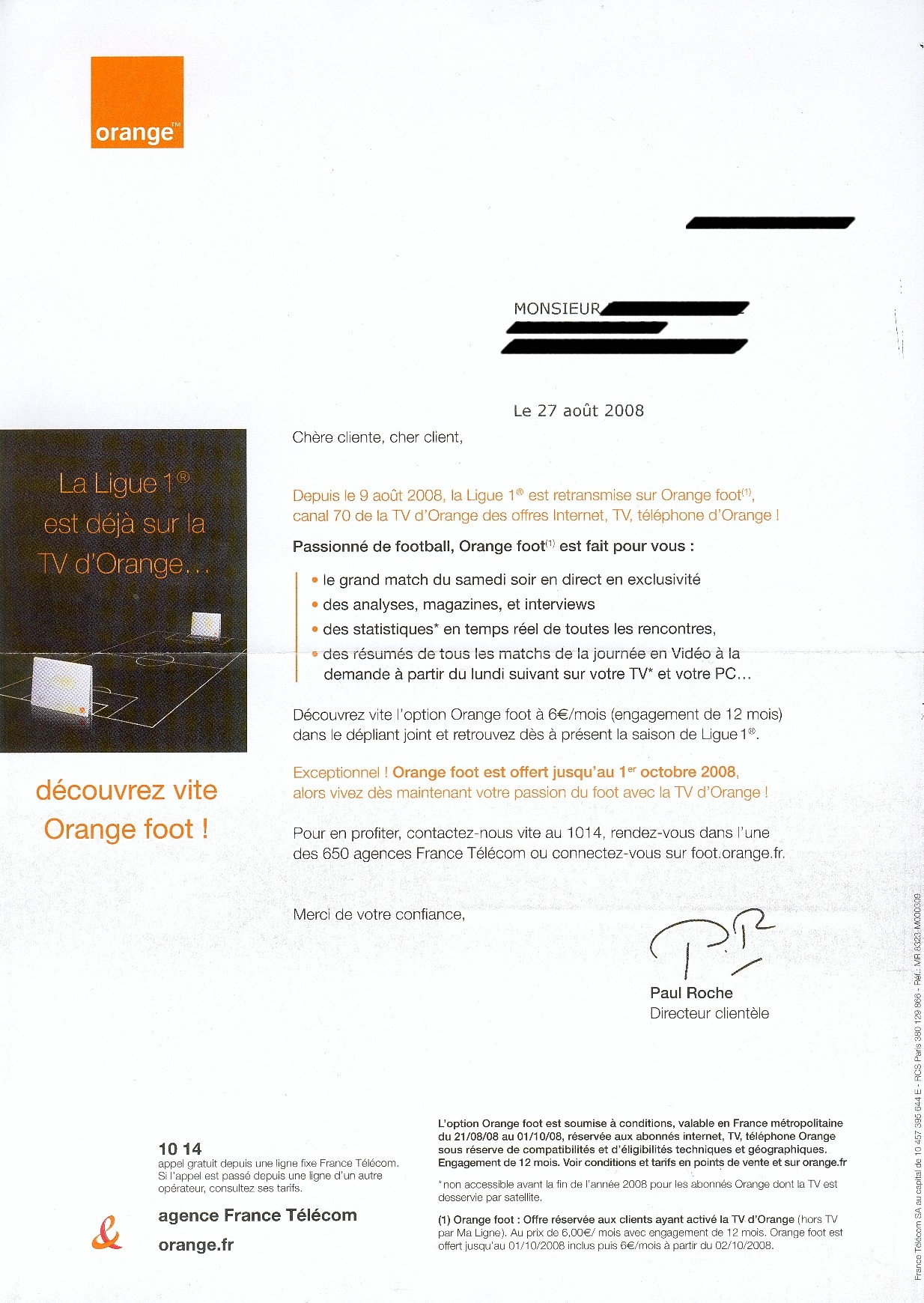 orange foot des publipostages pour recruter les abonn s. Black Bedroom Furniture Sets. Home Design Ideas