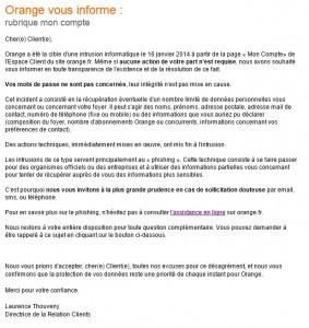 Mail Orange suite attaque du 16 janvier 2014