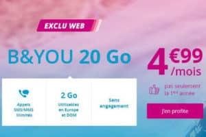 promo B&you forfait 20 Go à 4,99€ par mois