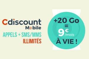 Promo Cdiscount Mobile 20 Go pour 9 euros