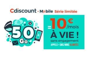 Promo Cdiscount Mobile 50 Go 10 euros à vie