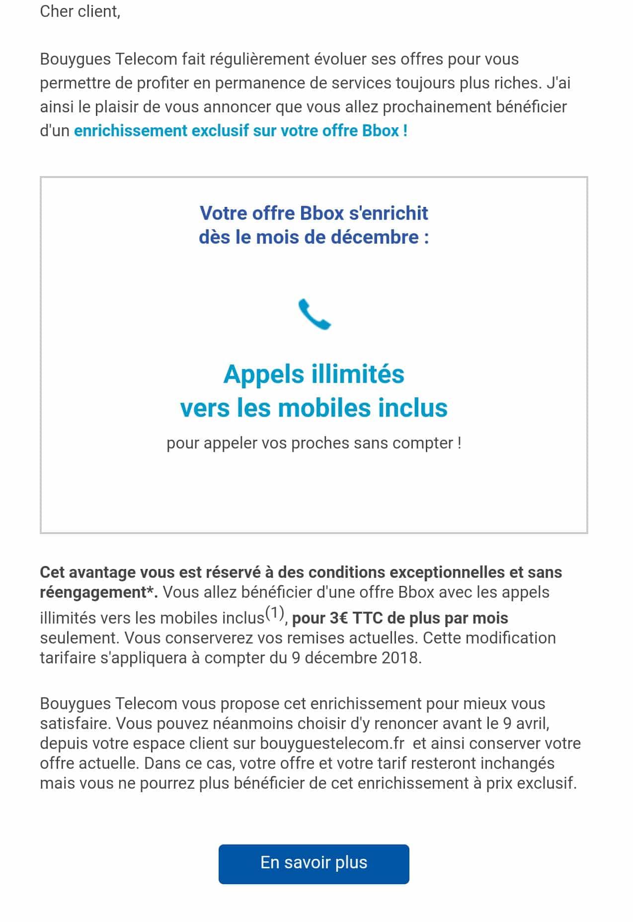 Mail de l'augmentation tarifaire Bouygues Telecom