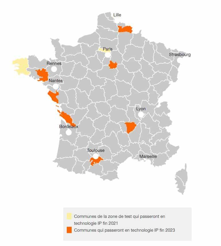 Carte de l'extinction du réseau RTC orange