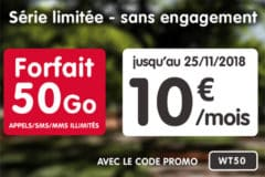 Promotion NRJ Mobile 50 G0 10 euros novembre 2018