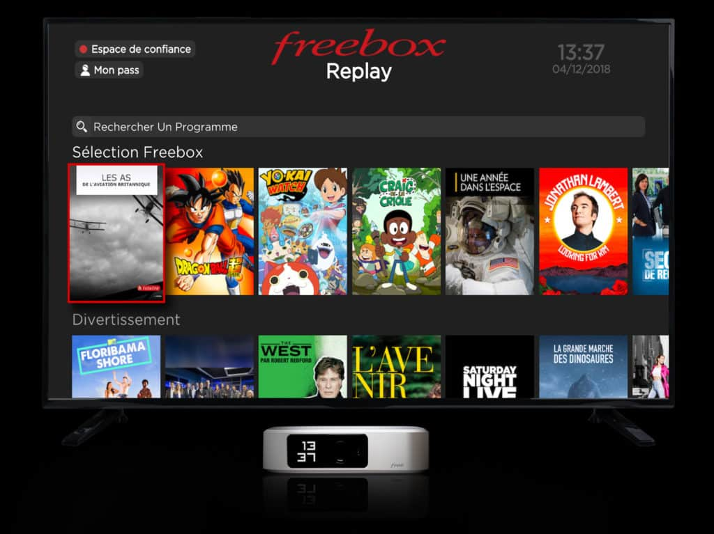 Interface TV de la Freebox One