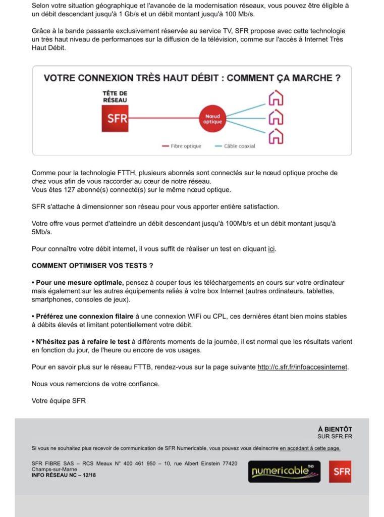 Lettre d'information transmise par SFR concernant la fibre