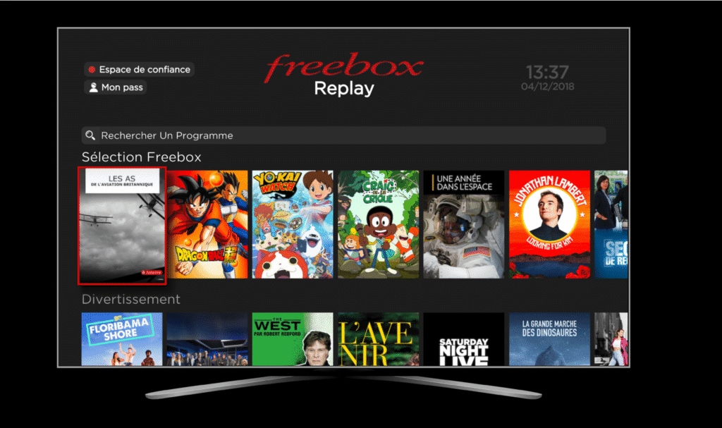 Interface TV Freebox Delta
