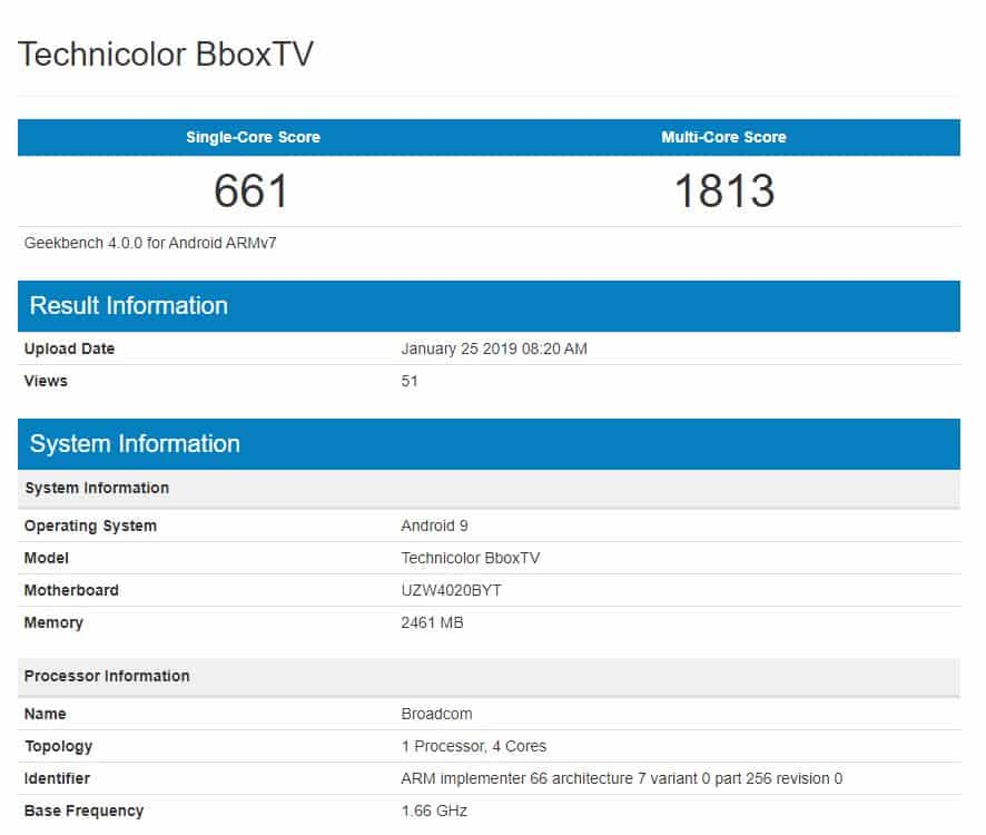 Benchmark bbox tv technicolor