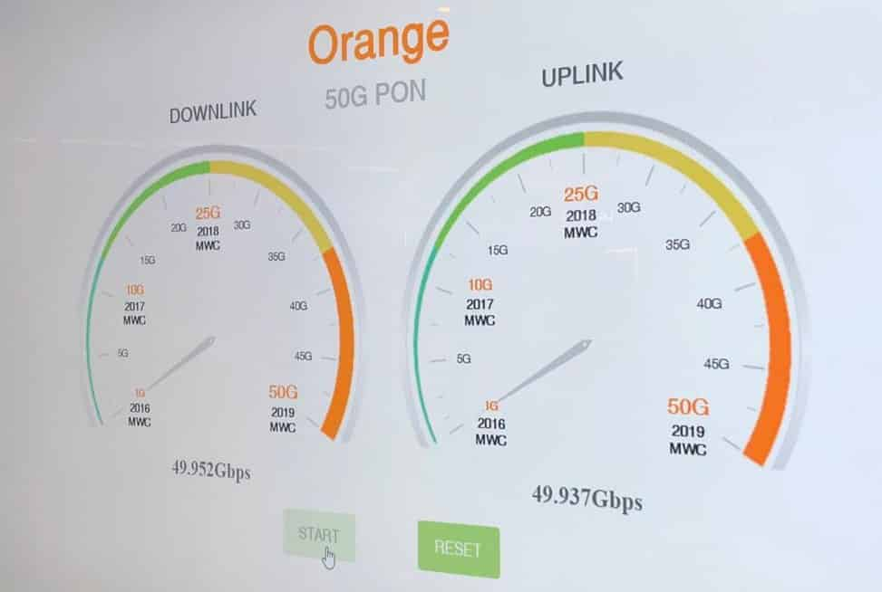 Test 50 gigabit sur une fibre Orange