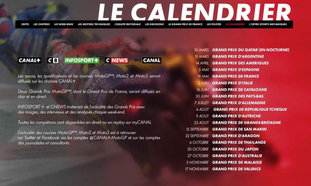 Calendrier du Moto GP 2018 sur CANAL+