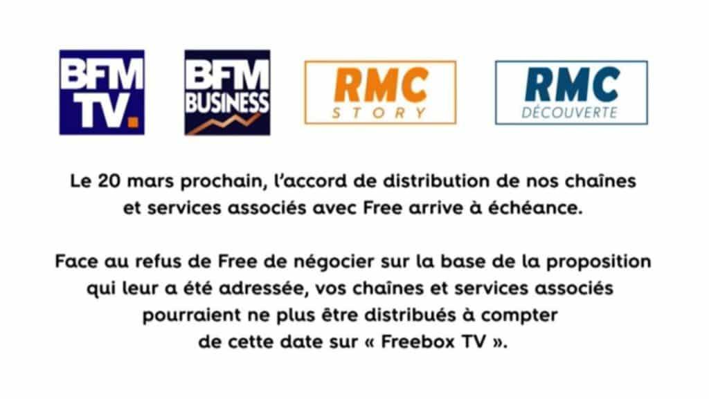 message indiquant la coupure de BFM chez Free
