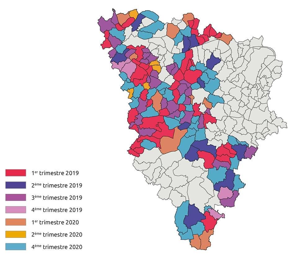 Carte prévisionnelle du déploiement dans les yvelines