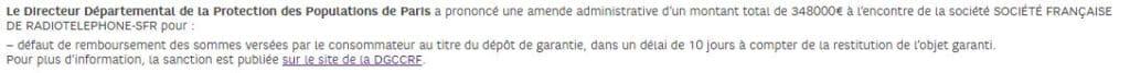 Texte affiché sur le site de SFR suite à l'amende infligée par la DGCCRF