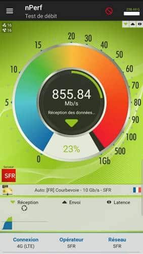 Test de débit 4G 1 Gb/s SFR à nantes