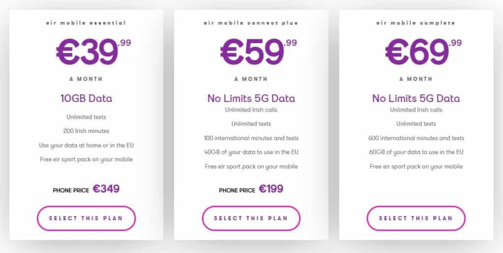 Les différents forfaits 5G de Eir, opérateur irlandais