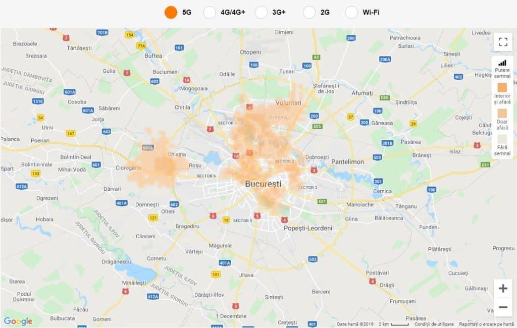 La couverture de Bucarest en 5G au 5 novembre 2019