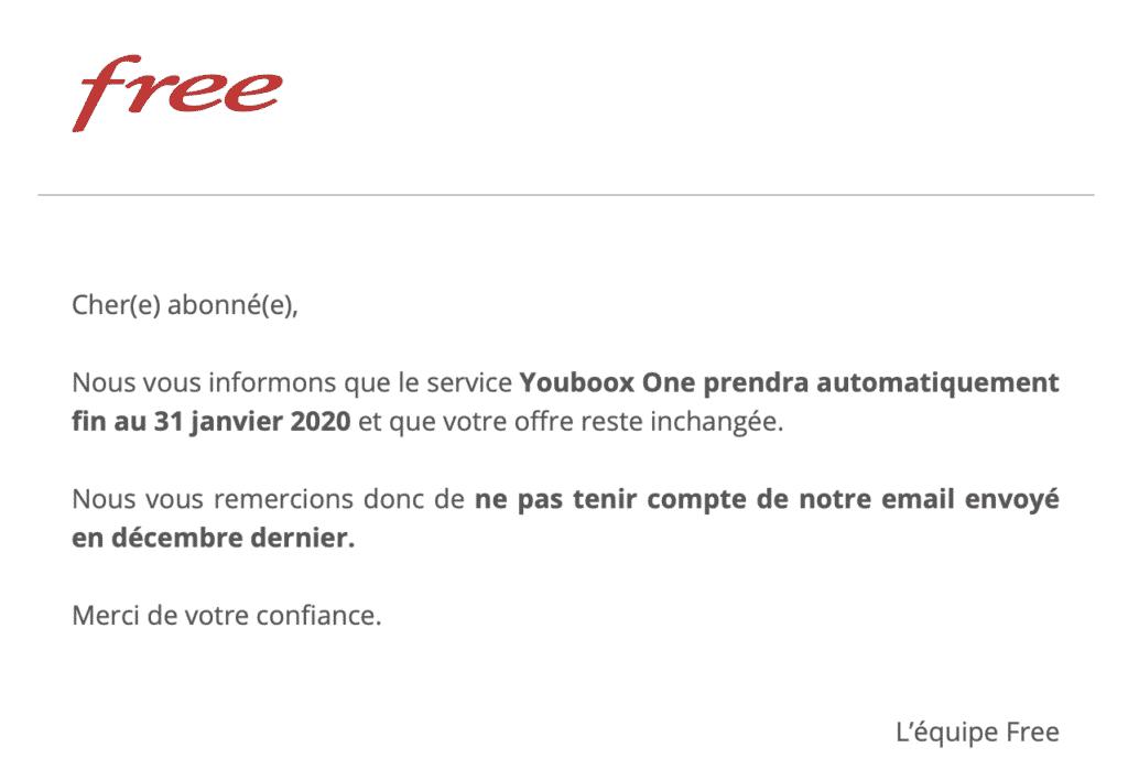 Mail envoyé aux abonnés Free
