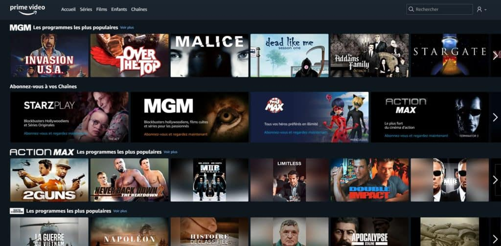 Les chaînes Amazon Channels sur Amazon Prime Video