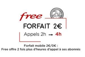 Forfait Free à 2€ avec double d'appel