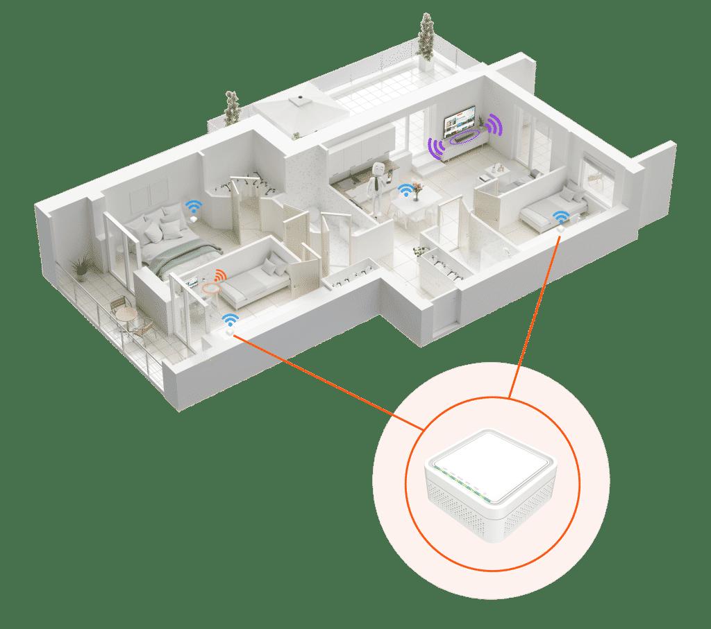 schéma des pods videofutur netgem dans une habitation