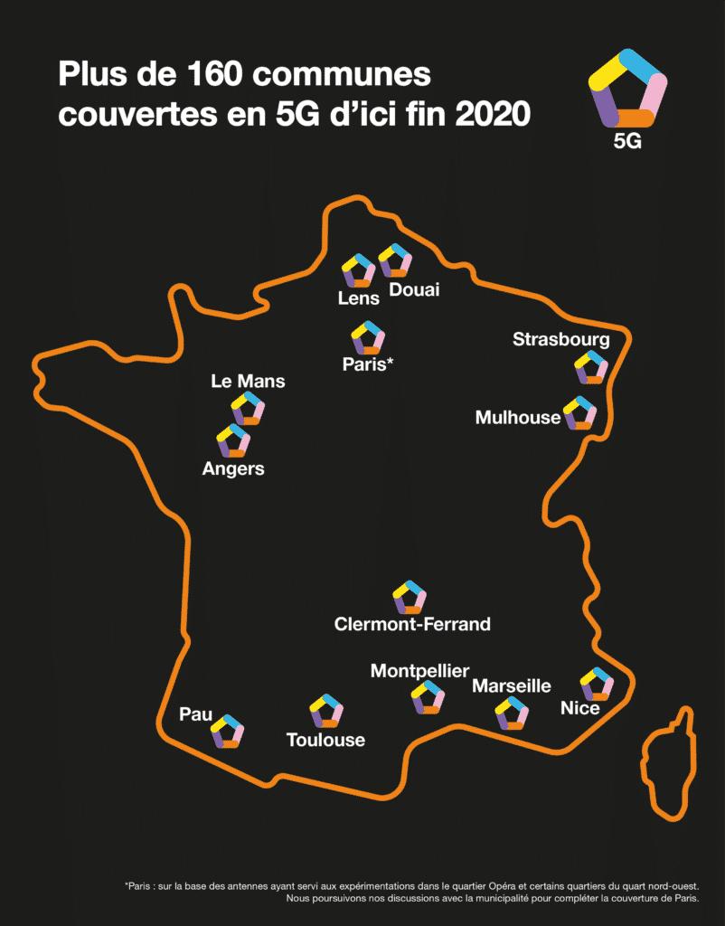 Carte de la 5G Orange au lancement