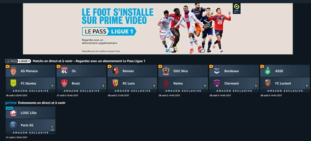 Pass ligue 1 Amazon prime video