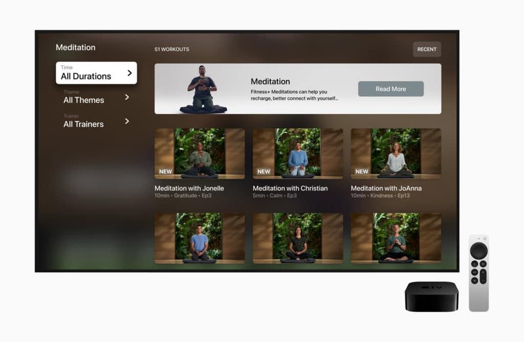 Fitness+ méditation guidée sur l'apple tv