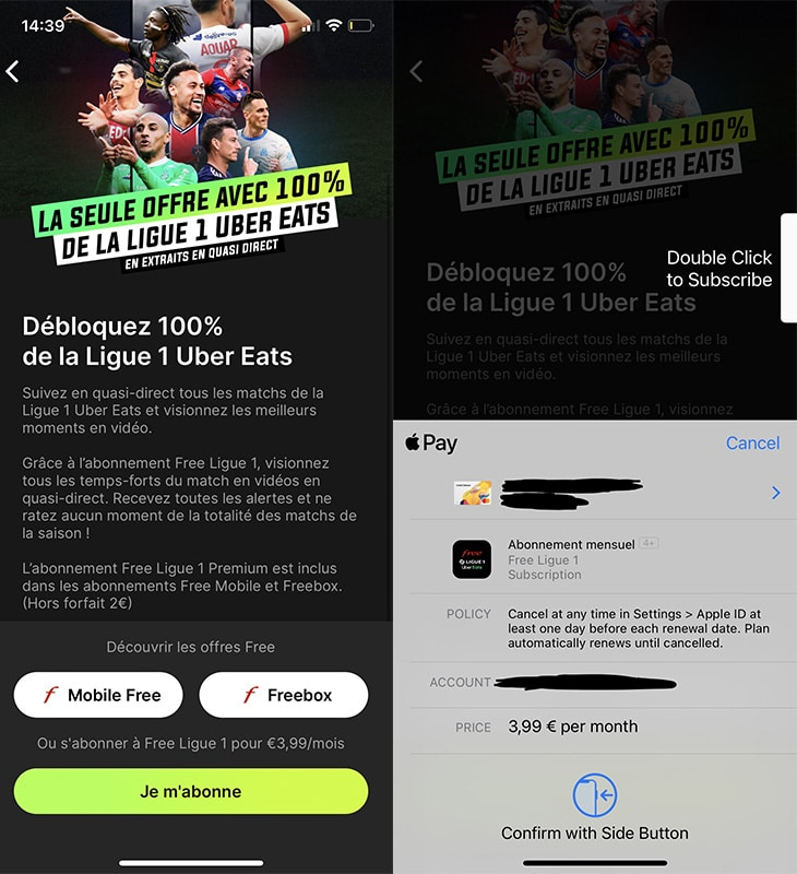 free ligue 1 uber eats abonnement