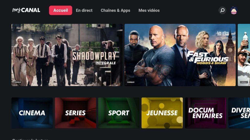 mycanal, nouveau menu android TV