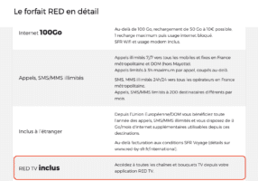 red forfaits red TV inclus